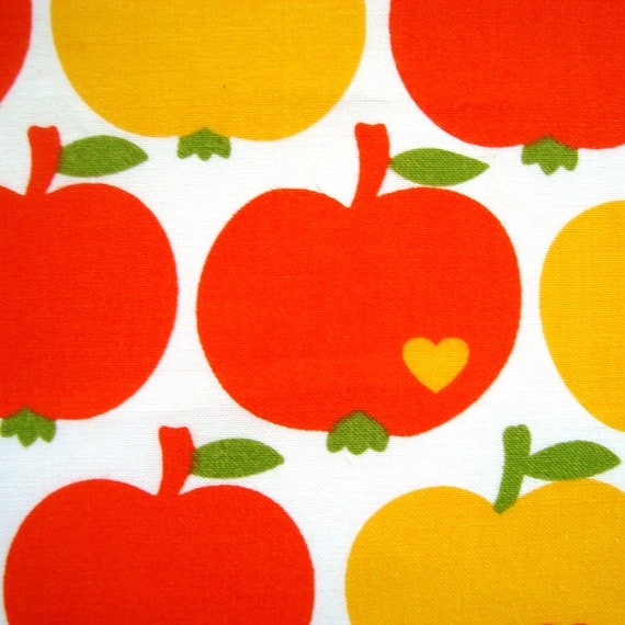 Retro Swedish Apples and Hearts Screenprinted  Fabric Remnant - Bright yellow and orange