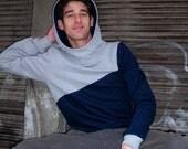 "hoody / sweater / jumper ""männertreu"", darkblue - grey"
