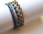 Brass Chain and Blue Bead Multi Layered Metal and Beaded Handmade Bracelet
