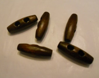 5 dark brown wood toggle buttons, 30 mm (20)
