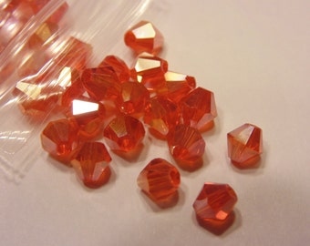 40 red AB crystal bicone beads , 4mm