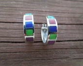 Vintage Silver Earrings with Multiple Colored Stones, Stamped 925, Small Size, Sterling