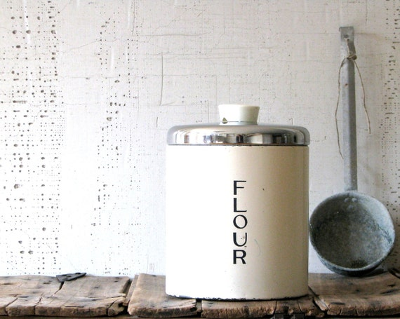 metal canisters - cream colored - chrome topped - classic farmhouse style