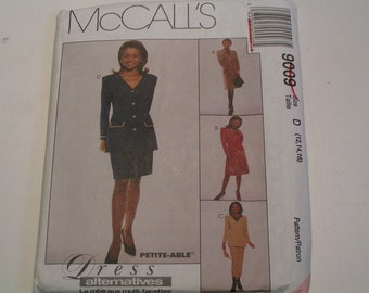 McCalls Pattern 9009 Miss Unlined Jacket Dress Skirt in two lengths