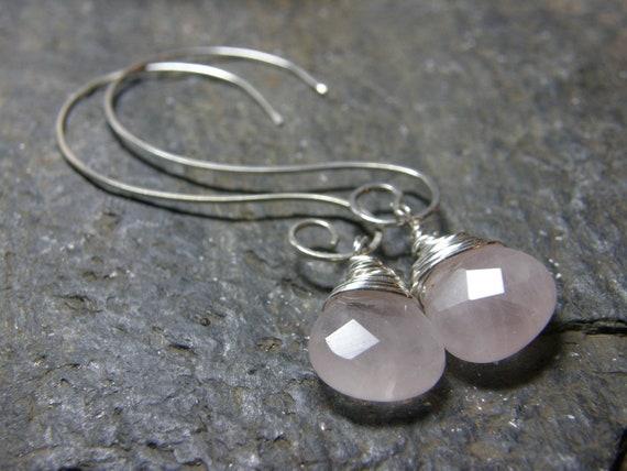Rose Quartz. Heart Briolette.  Sterling Silver Swirl Earrings.Wedding