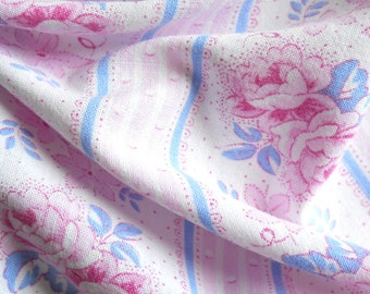 vintage fabric floral fabric blue and pink fabric french fabric pink floral fabric quilting fabric patchwork fabric 102