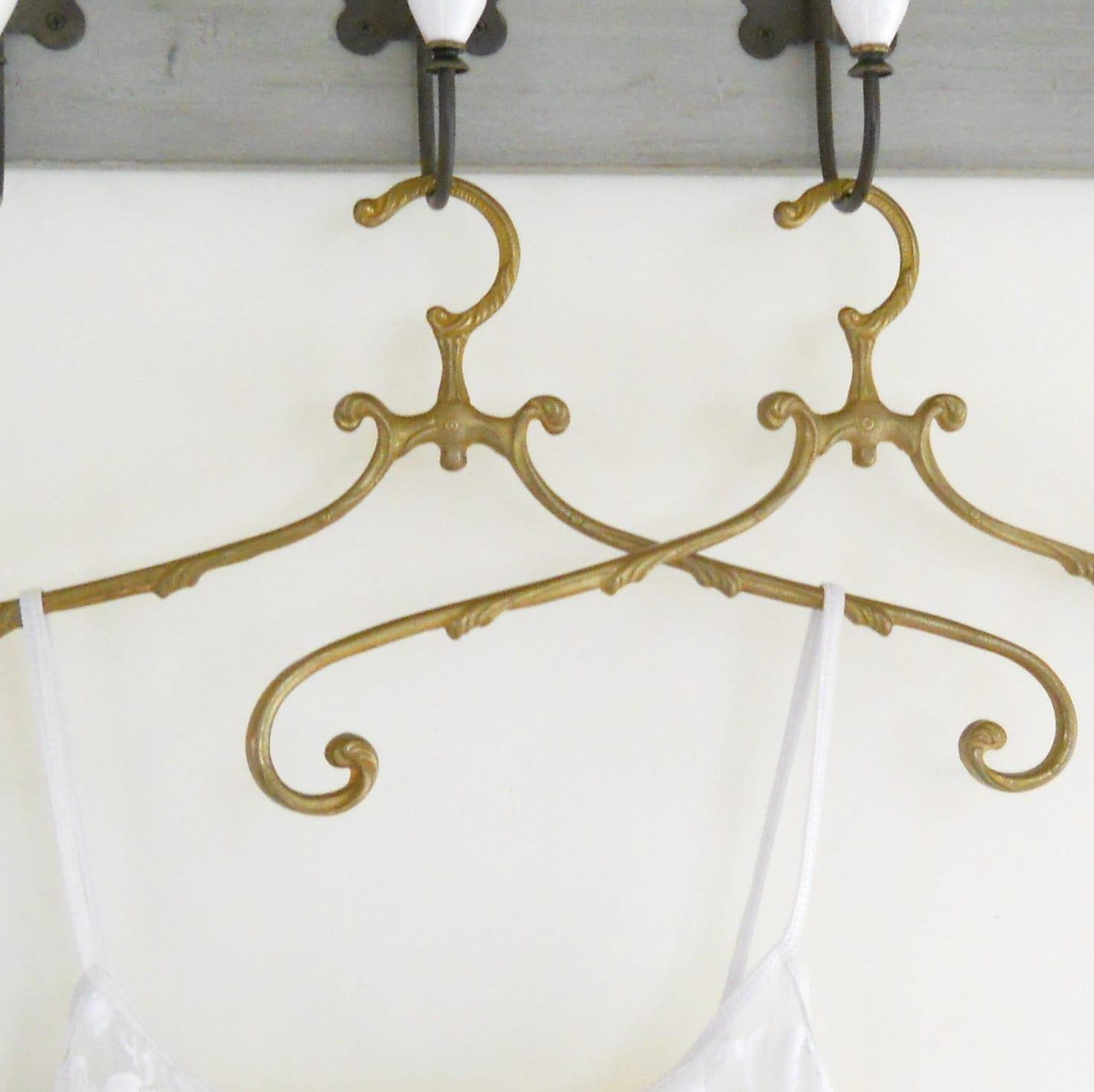 2 antique brass clothes hangers vintage coat hanger antique