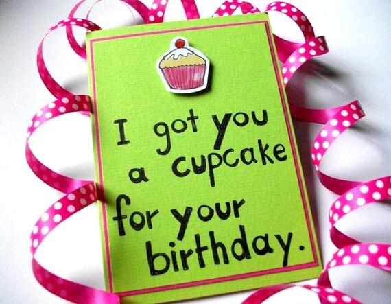 SALE Funny Birthday Card - Pink Cupcake - Handmade in Sweden