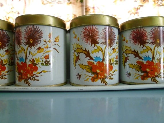Vintage Cute Wall Mount Canister Set, desk, kitchen, wall organizer, spices, orange blue gold and brown screen print
