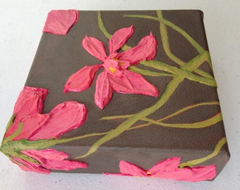 Highly textured pink flower painting, a small canvas original floral gift on 5X5X1.5 inch canvas in hot pink & light brown