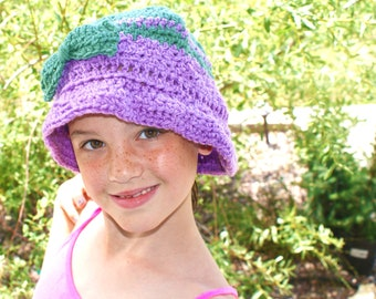 1930s Style Hat, Womens hat, Crochet Bucket Hat with Bow, Purple Spring Hat, Winter Hat, Crochet Cloche Hat, Purple Hat, Flapper Hat