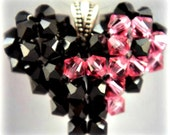 BREAST CANCER AWARENESS Pink Ribbon Heart  Pendant Jet/Black