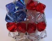 Red White Blue USA Flag Square Swarovski Crystal Ring