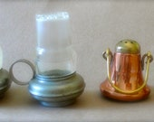 vintage salt and pepper shakers copper and brass bell or lantern and pewter lanterns