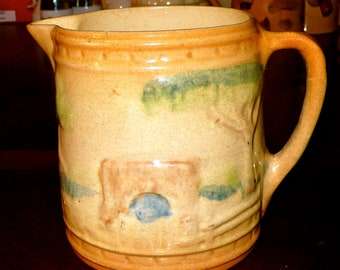 Antique Vintage Roseville utility Pitcher  The Bridge with  Waterfall Pattern . pre 1916