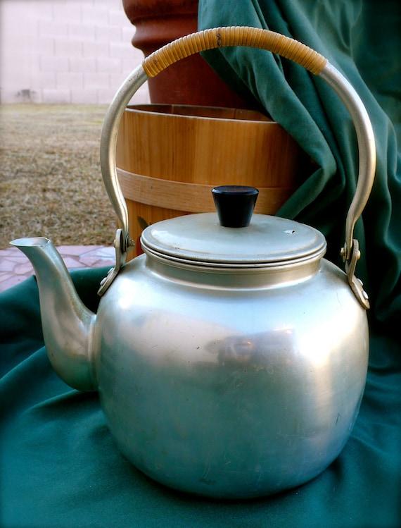 Vintage Large Aluminum Hoshitaka Tea Pot Kettle With Bamboo