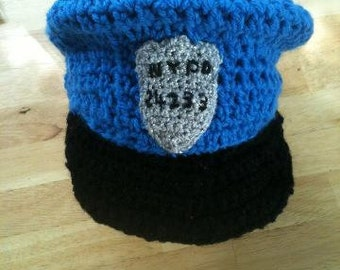 crochet POLICE hat blue or pink