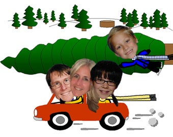 Funny Family Photo Christmas Card Christmas Tree Car - Digital Printable Fun Unique