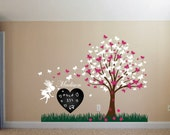 Wall Decal Christmas Girl Room Gift Set with Butterfly Blossom Tree, Fairy, Ladybugs, Heart Chalkboard, Grass and Custom Name Sticker 1176