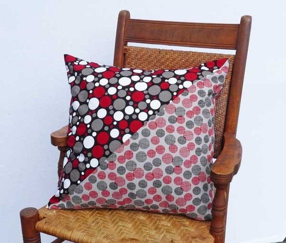 Contemporary Geometric Circles & Dots in Reds Greys White Pillow Cover 18 inch