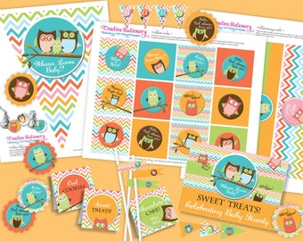 Owl Baby Shower DIY Party Printables Package. Gender Neutral. Fun chevron pattern. Owl themed party printables customized just for you.