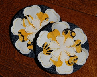 Yellow Petals Jean Repair Patch for Girls