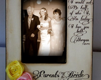 Wedding  Distressed Vintage Picture 4x6 Thank you Parent Photo Frame - Personalized Gift - Keepsake