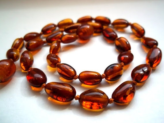 Baltic Amber Baby Teething Necklace. Deep Cognac  colour beads. Effective Pain Relief Solution.