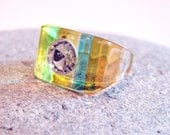 Vintage Fun and Retro Yellow Striped Lucite Ring Size 8