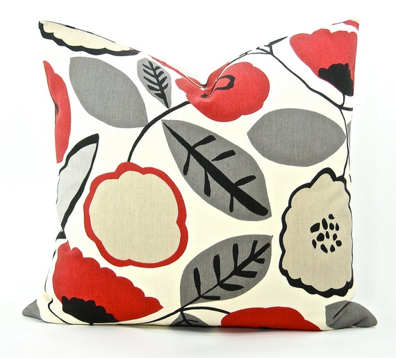 """Contemporary Red Poppy Decorator Pillow Cover - Black, Grey, Taupe, Red & Ivory Floral Fabric Both Sides - To Cover 20""""x20"""" Pillow Form"""