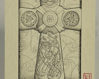 Zoomorph Celtic Cross ART PRINT
