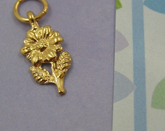 058 Gold Flower Plant Charm