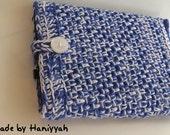 Netbook Bag - Sleeve Jacket Cover Case Blue and white - Handmade Crochet