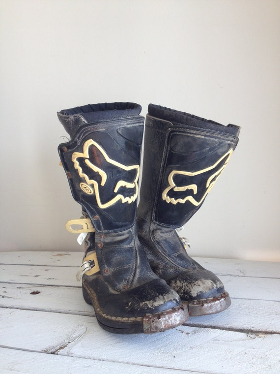 Vintage Fox Motocross Boots Black And White Boots Vintage Bar