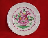 Antique  1800's French Hand Painted Rooster Plate (Clements) MAJOLICA FAIENCE POTTERY