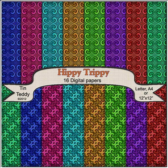 Hippy Trippy Digital Papers - 16 1960s style Funky Printable Backgrounds for Scrapbooking, Birthday Cards and much more