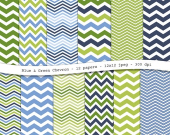 Blue and Green Chevron digital scrapbooking paper pack - 12 printable jpeg papers, 12x12, 300 dpi - instant download