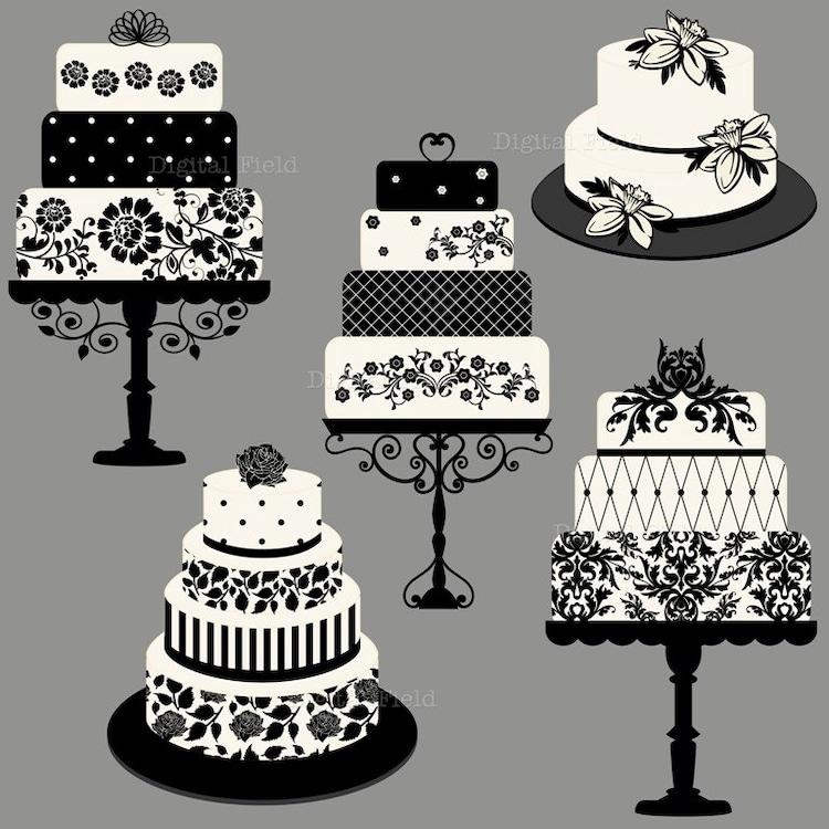 Elegant Wedding Or Birthday Cake Clip Art Set By Digitalfield