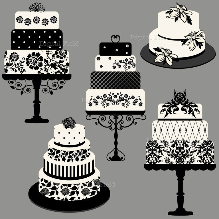 elegant wedding or birthday cake clip art set by digitalfield. Black Bedroom Furniture Sets. Home Design Ideas