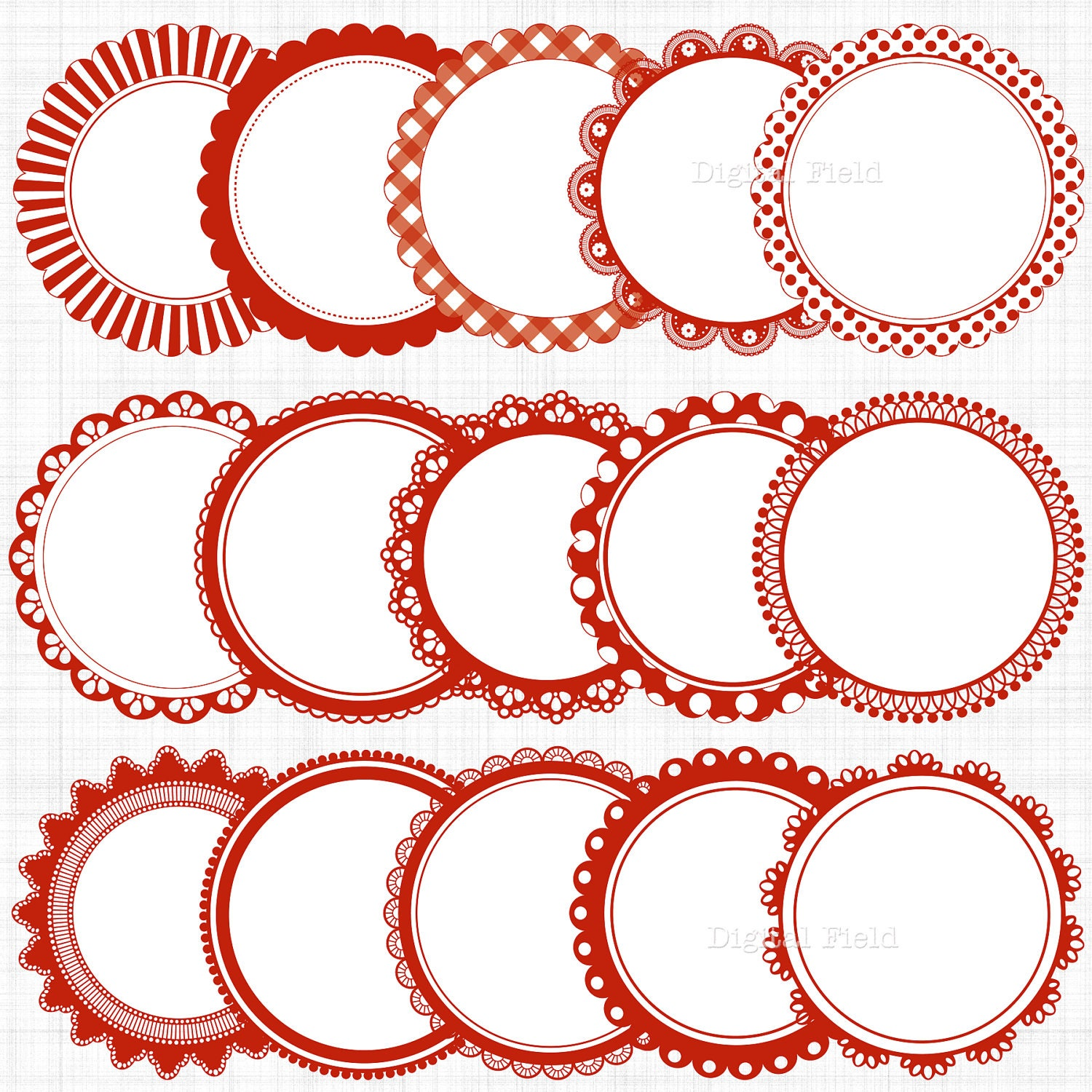 red white scalloped circle frames labels clip art set by digitalfield etsy. Black Bedroom Furniture Sets. Home Design Ideas
