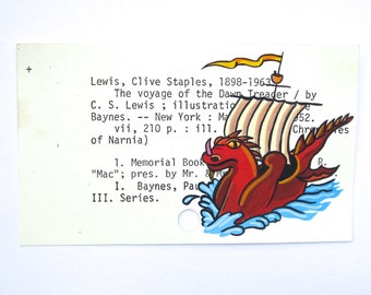 Narnia Library Card Art - Print of my painting of The Voyage of the Dawn Treader - The Chronicles of Narnia