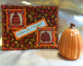 Quilted Thanksgiving Postcard