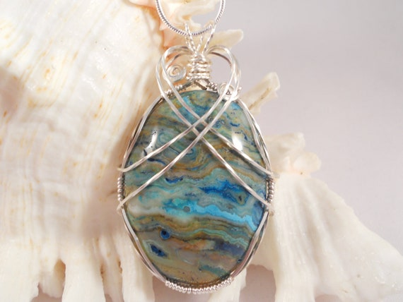 Mexican Lace Agate Wire Wrapped Pendant