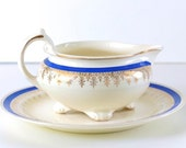 Vintage Nautilus China Sauce Boat and Plate, Royal Blue and Gold