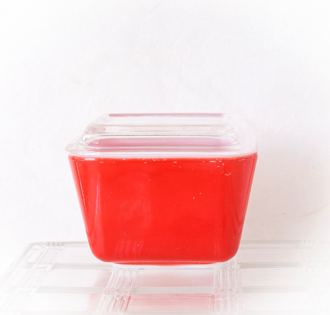Vintage Pyrex Glass Storage Container Red By