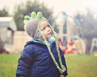 Crochet Dinosaur earflap hat, photo prop