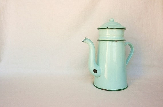 French farmhouse enamelware coffee pot, turquoise mint kitchen enamel coffee pot, rustic kitchen, French country home