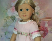 """Made to Order: Regency Dress & Pantalettes for Caroline - Pink, Ruffle, Embroidered Ribbon.American Girl 18"""" Dolls Historic 1812 Clothes"""