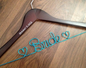 Wedding Hanger, Bridal Hanger with Wedding Date, Bride Hanger, Custom Dress Hanger, Bridal Shower Gift, Bridesmaid Gifts, Maid of Honor