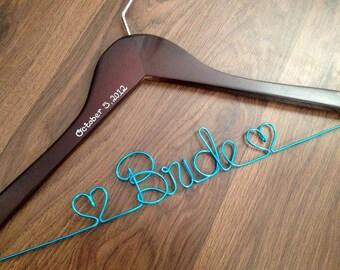 SALE Wedding Hanger, Something Blue, Bridal Hanger with Wedding Date, Bride Hanger, Wedding Dress Hanger, Bridal Shower Gift